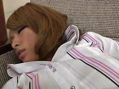 Sweet Japanese girl in black pantyhose is in need of a hard