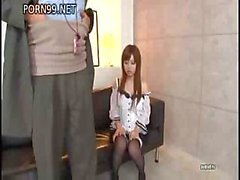 Asian maid shows that she knows how to service her employer's cock