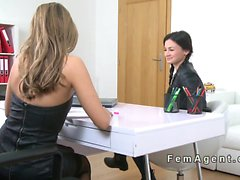 Beautiful petite lesbo fingered in casting