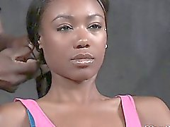 Ebony sub flogged while restrained