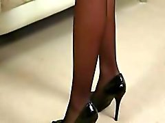 Black sexy pantyhose in hotel hotel