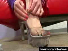 Foot fetish - Sexy babes fucking cock with their feet 18