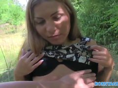 HornyAgent Sexy blonde bends over and gets fucked outdoors