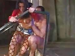 Whorish brunette in ripped panty hose gets her asshole drilled doggy style