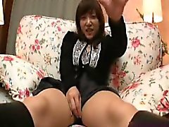 Sexy Asian babe plays with herself and gets her bush pounde