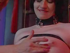 Mistress ties up her slave and suspended she eats her pussy