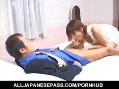 Mirai Hoshino licks and sucks cock she gets in her shaved cooter