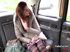 Skinny brunette nailed taxi driver