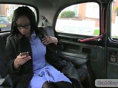 British ebony nurse interracial sex in fake taxi