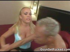 guy reamed hard in his ass with strapon cock