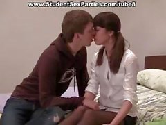 Horny brunette college student gets banged and takes a mouthful