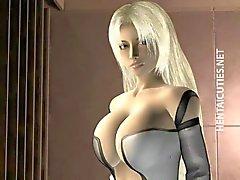De Blondie 3D de Hentai chica espectáculo senos