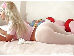 Gorgeous blonde ass in pantyhose