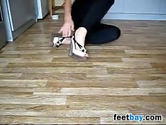 Blonde Girl Smells Her Beautiful Feet