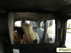Blonde with small tits in fake taxi fucking