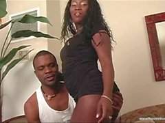 Gorgeous ebony sucks monster cock
