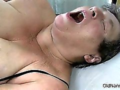 Dirty old woman goes crazy masturbating