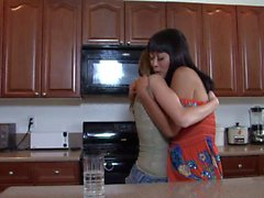 Gorgeous Asian and shy brunette fuck in the kitchen