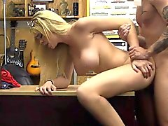 Busty Blonde Dirtbag Getting Drilled On Pawn Shop Desk