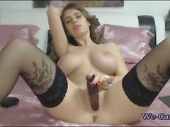 Sexy busty camgirl best masturbating show on webcam