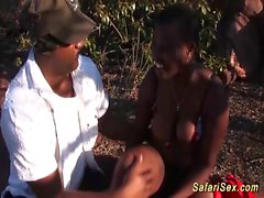 thressome orgy with busty african babe