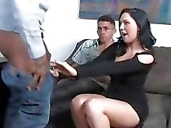 Megan Foxx taking black cock in front of cuckold