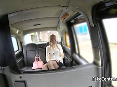Milf with pigtails fucked in taxi