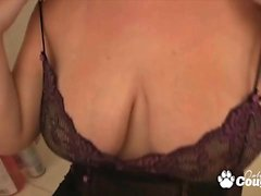 Busty milf blowing dick in bathroom
