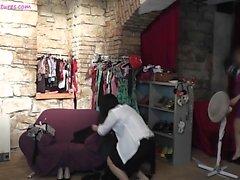 Amateur hot TEEN dances in backstage