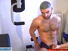 The 1srt porn of François Sagat get wanked his huge cock, made by us!