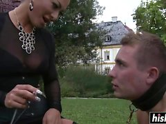 Horny dominant diva tortures her man