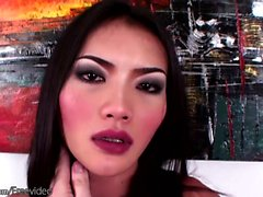 Erotic Asian tranny with shiny dick head strokes cock in POV