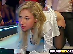 Hot boozed ladies fucking at the party