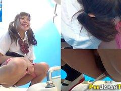 Adorable Asian schoolgirl wants to pee