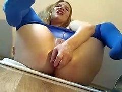 Cam blonde in blue tights