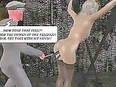 Tied up 3D cartoon babe getting spanked and toyed