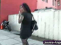 Joanna Angel sucks cock in bathroom