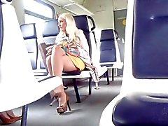 Sexy blondy in train