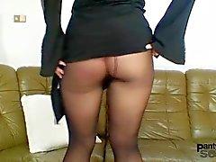 Bibi Fox likes nylons and black pantyhose dildo masturbation
