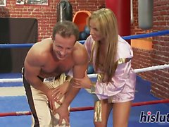 Amazing blonde gets fucked in the ring