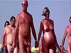 Den franska nudist stranden keps d för Agde människor som gick nakenstudie 04