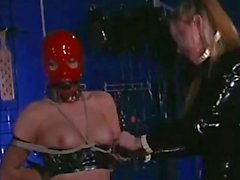 3 Slave Girl In Latex Masks Bondaged Spanked Tortured With Stick By 2 Mistresses In The Dungeon