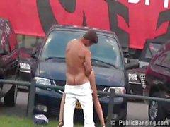 Public Exhibitionist Sex At A Car Dealership
