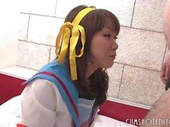 Fresh Japanese Teen Sucking Cock