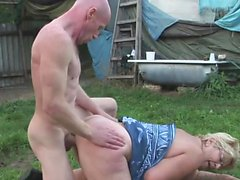 Granny gets drilled in her yard