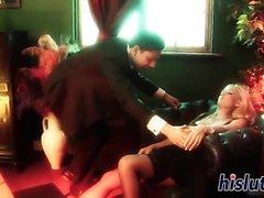Stunning blonde babe receives a sensual pounding