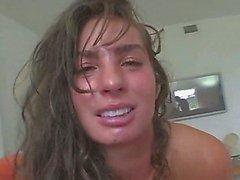 Small tit tan brunette gives POV blowjob