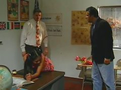 Cute Teen Schoolgirl in Detention get Fucked by Two Teachers