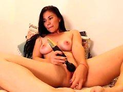 Rachel Starr Spielzeug ihre Muschi auf Webcam hautnah zum Orgasmus