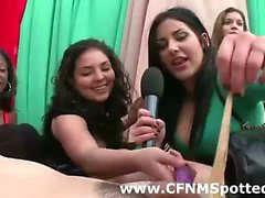 CFNM group see amateur lesbian licking at party